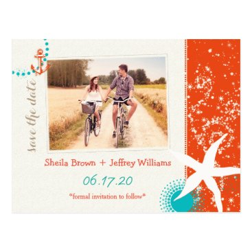 Beach Themed Starfish Destination Wedding Photo Save the Date Postcard