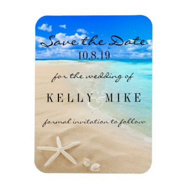 Valentines Themed Starfish Destination Wedding Save the Date Magnet