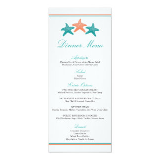 Starfish Dinner Menu Card
