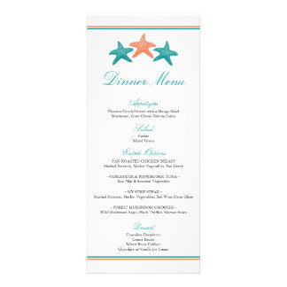 Starfish Dinner Menu Custom Invitations