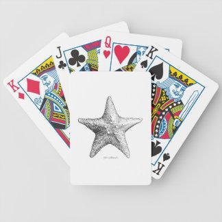 Starfish Drawing Ocean Beach Art Black & White Bicycle Playing Cards
