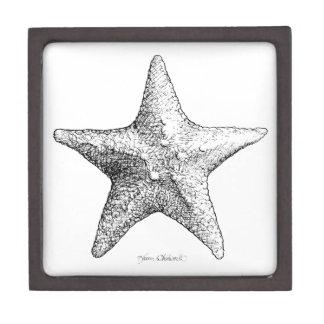 Starfish Drawing Ocean Beach Art Black & White Keepsake Box