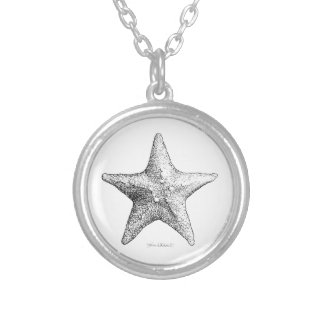 Starfish Drawing Ocean Beach Art Black & White Silver Plated Necklace