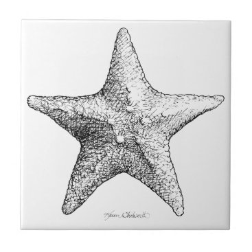 Beach Themed Starfish Drawing Ocean Beach Art Black & White Tile