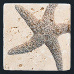 """Starfish Drink Coasters Stone<br><div class=""""desc"""">Coastal home stone coasters with starfish image.  Choose from 4 types of stone and decorate your home in a tropical style.</div>"""