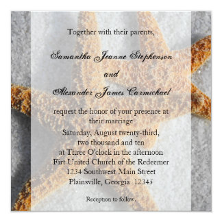 Starfish Duo in the Sand, Beach Wedding Square Card