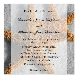 Starfish Duo in the Sand, Beach Wedding Square Personalized Invite