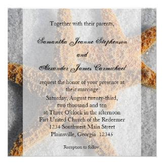 Starfish Duo in the Sand Beach Wedding Square Personalized Invite