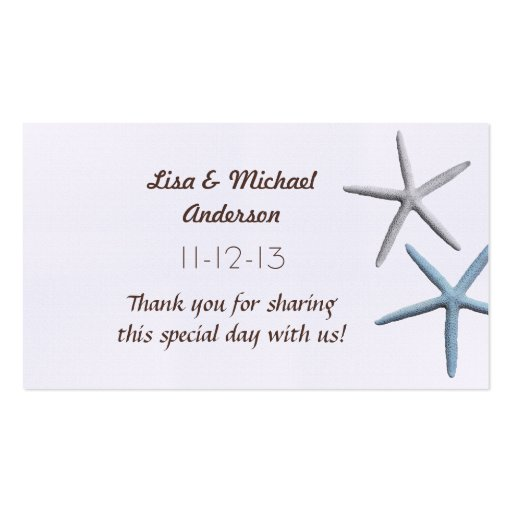 Starfish Favor Thank You Cards, Medium Size Business Card Templates