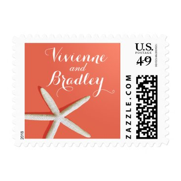 Beach Themed Starfish Fingers Beach | coral Postage