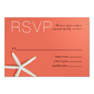 Starfish Fingers Beach RSVP | coral Card