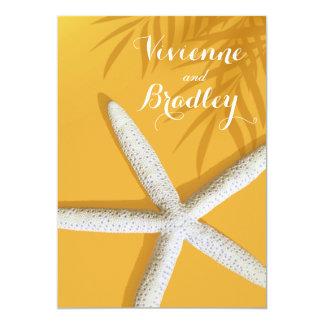 Starfish Fingers Beach Wedding | sunset gold Card