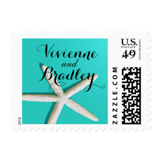 Starfish Fingers Beach Wedding | teal Postage