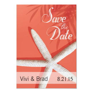 Starfish Fingers Save the Date | coral Card