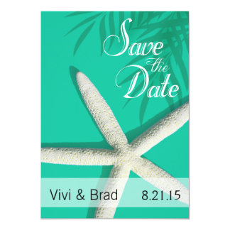 Starfish Fingers Save the Date | ocean mist Card