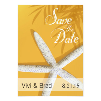 Starfish Fingers Save the Date | sunset gold Card