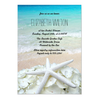 Starfish Floral Beach Bridal Shower Card