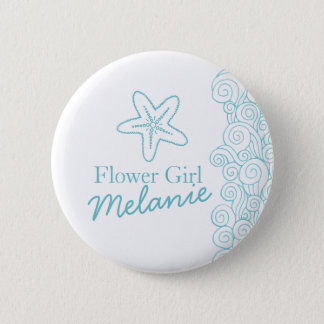 Starfish flower girl aqua wedding pin / button