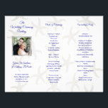 """Starfish Folded Photo Wedding Ceremony Program<br><div class=""""desc"""">Photo wedding program to fold into thirds.  Accordion fold with starfish pattern background and indigo blue text.  Customize in three sections with photo of the couple on the front panel.  The back of this paper will not have the pattern and will be solid white.</div>"""