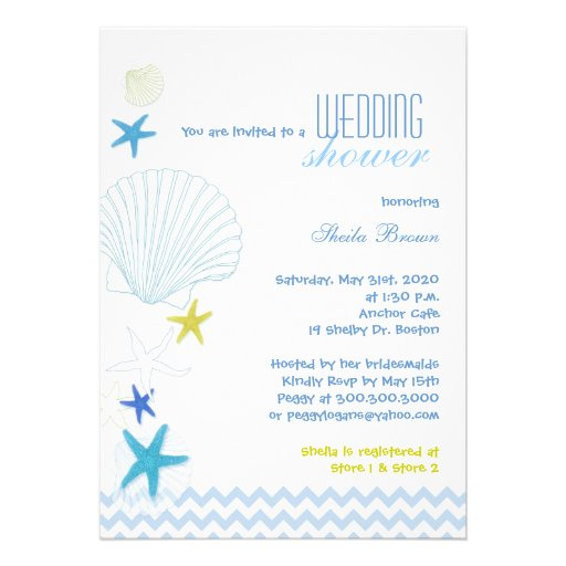 Starfish Garden Chevron Bridal Shower Invitations