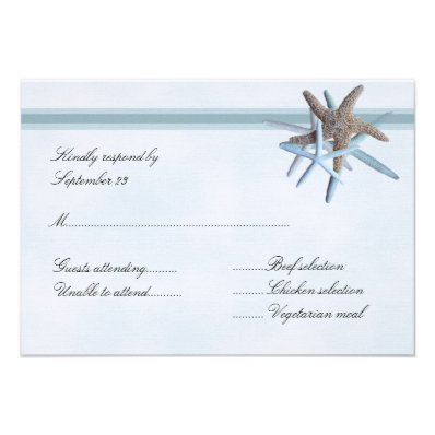 Starfish Gathering A1 Size RSVP Menu Cards Invites