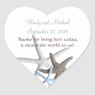Valentines Themed Starfish Gathering Heart-Shaped Wedding Stickers