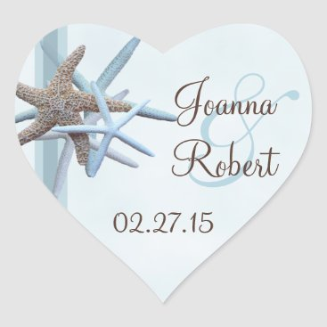 Valentines Themed Starfish Gathering Heart Wedding Sticker