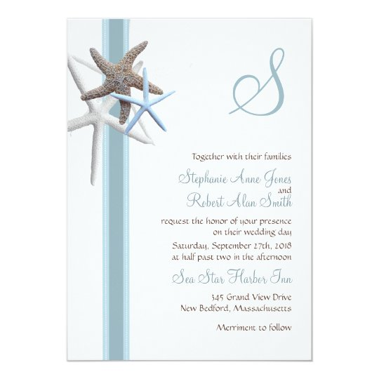 Starfish gathering monogrammed wedding invitations zazzle starfish gathering monogrammed wedding invitations stopboris Choice Image