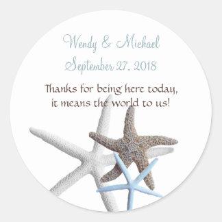 Starfish Gathering Round Wedding Favor Labels Classic Round Sticker