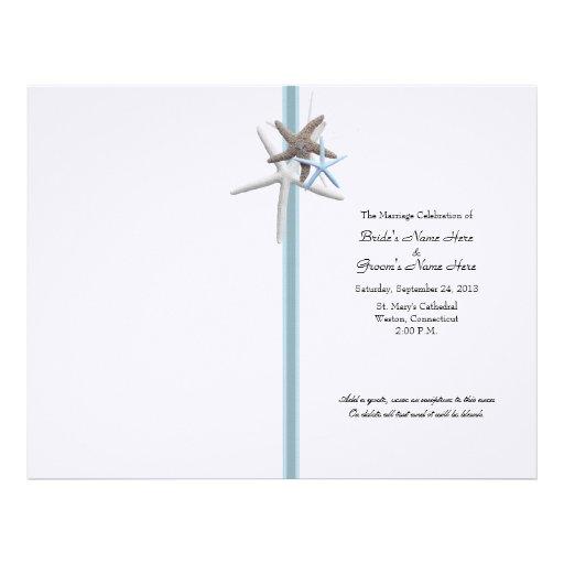 Starfish Gathering Wedding Program Cover Custom Letterhead