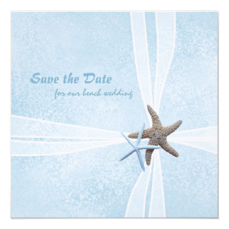 """Starfish Gift Box Save the Date Cards 5.25"""" Square Invitation Card"""