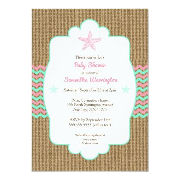 Beach Themed Starfish girl baby shower invites pink mint burlap
