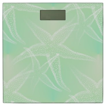 Beach Themed Starfish Green Cream Beach Bathroom Scale