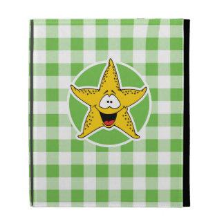 Starfish; Green Gingham iPad Folio Cases