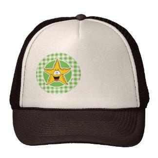 Starfish; Green Gingham Trucker Hat