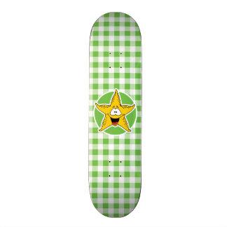 Starfish; Green Gingham Skate Decks