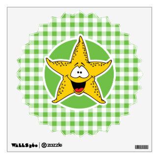 Starfish; Green Gingham Wall Sticker