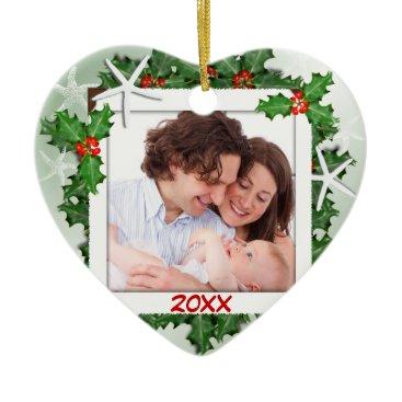 Christmas Themed Starfish Heart Family Photo Christmas Ornament