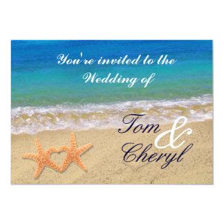 Starfish Hearts Ocean Beach Wedding Invitations