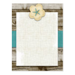 Starfish Hibiscus Vintage Wood Post Card