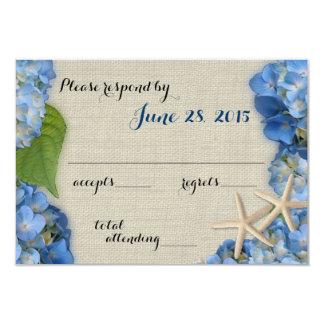 Starfish Hydrangea Wedding Response 3.5x5 Paper Invitation Card