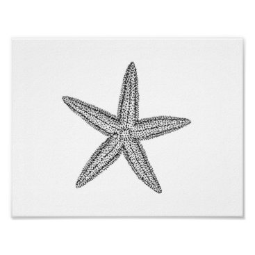 Beach Themed Starfish illustration in black and white poster