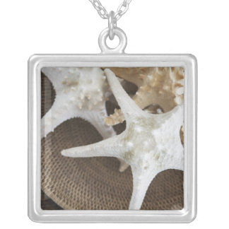 Starfish in a basket square pendant necklace