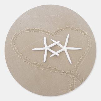 Starfish in Heart Sticker