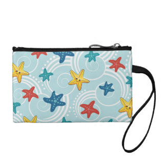 Starfish in Swirly Ocean Coin Wallet