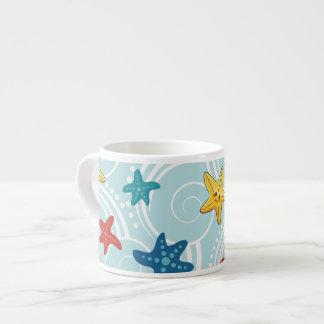 Starfish in Swirly Ocean Espresso Cup