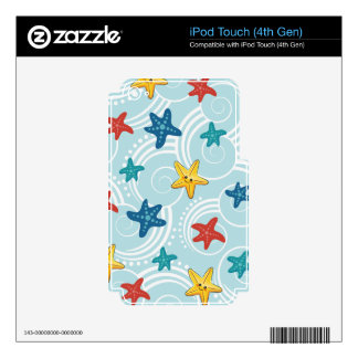 Starfish in Swirly Ocean Skin For iPod Touch 4G