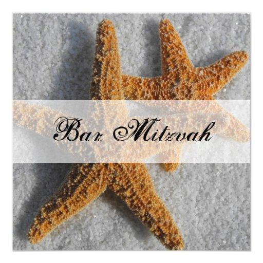 Starfish in the Sand Beach Bar Mitzvah Custom Invitations