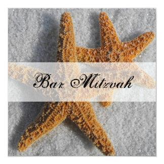 "Starfish in the Sand Beach Bar Mitzvah 5.25"" Square Invitation Card"
