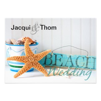 Starfish Informal Beach Wedding Personalized Invite